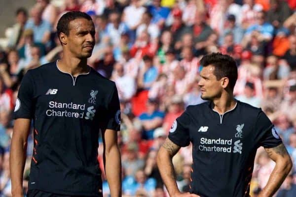 STOKE-ON-TRENT, ENGLAND - Saturday, April 8, 2017: Liverpool's Joel Matip, Dejan Lovren, Ragnar Klavan and Divock Origi during the FA Premier League match against Stoke City at the Bet365 Stadium. (Pic by David Rawcliffe/Propaganda)