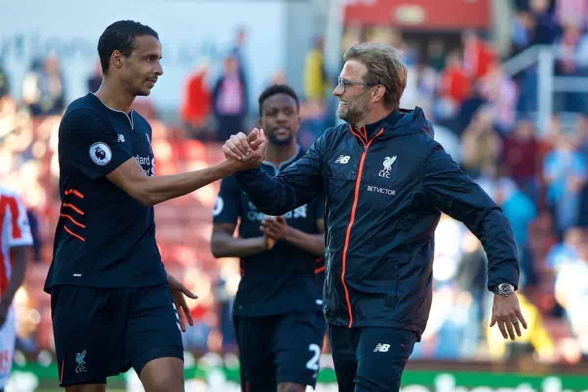 STOKE-ON-TRENT, ENGLAND - Saturday, April 8, 2017: Liverpool's manager Jürgen Klopp celebrates with Joel Matip after the 2-1 victory over Stoke City during the FA Premier League match at the Bet365 Stadium. (Pic by David Rawcliffe/Propaganda)