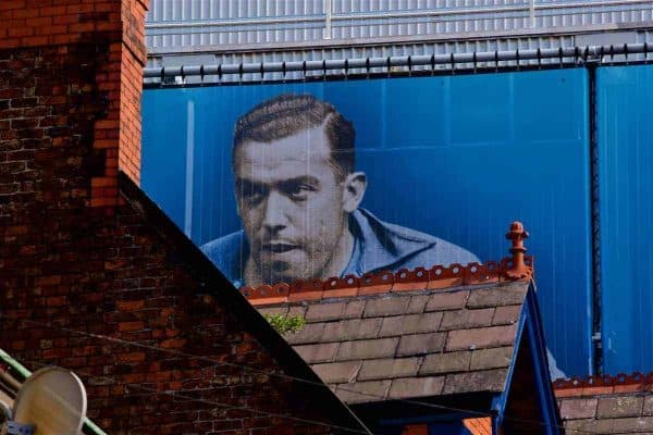 LIVERPOOL, ENGLAND - Sunday, April 9, 2017: An image of Everton striker Dixie Dean on the side of Goodison Park, pictured before the FA Premier League match between Everton and Leicester City. (Pic by David Rawcliffe/Propaganda)