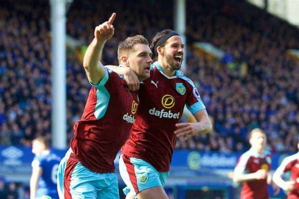 LIVERPOOL, ENGLAND - Saturday, April 15, 2017: Burnley's Sam Vokes celebrates scoring the first equalising goal against Everton, from a penalty kick, with team-mate George Boyd, during the FA Premier League match at Goodison Park. (Pic by David Rawcliffe/Propaganda)
