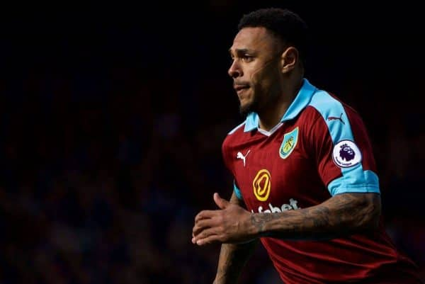 LIVERPOOL, ENGLAND - Saturday, April 15, 2017: Burnley's Andre Gray in action against Everton during the FA Premier League match at Goodison Park. (Pic by David Rawcliffe/Propaganda)