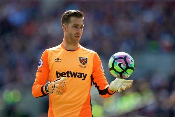 LONDON, ENGLAND - Saturday, April 22, 2017: West Ham United's goalkeeper Adrian San Miguel del Castillo in action against Everton during the FA Premier League match at the London Stadium. (Pic by David Rawcliffe/Propaganda)