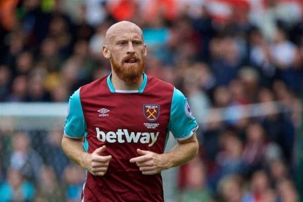 STOKE-ON-TRENT, ENGLAND - Saturday, April 29, 2017: West Ham United's James Collins in action against Stoke City during the FA Premier League match at the Bet365 Stadium. (Pic by David Rawcliffe/Propaganda)