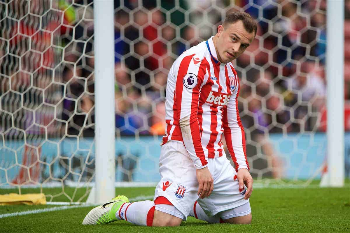 Stoke City's Xherdan Shaqiri looks dejected after missing a chance against West Ham United during the FA Premier League match at the Bet365 Stadium. (Pic by David Rawcliffe/Propaganda)