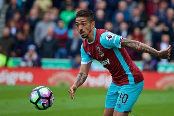STOKE-ON-TRENT, ENGLAND - Saturday, April 29, 2017: West Ham United's Manuel Lanzini in action against Stoke City during the FA Premier League match at the Bet365 Stadium. (Pic by David Rawcliffe/Propaganda)