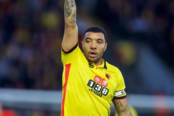 WATFORD, ENGLAND - Monday, May 1, 2017: Watford's captain Troy Deeney in action against Liverpool during the FA Premier League match at Vicarage Road. (Pic by David Rawcliffe/Propaganda)