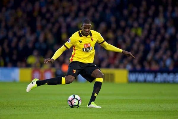 WATFORD, ENGLAND - Monday, May 1, 2017: Watford's Abdoulaye Doucoure in action against Watford during the FA Premier League match at Vicarage Road. (Pic by David Rawcliffe/Propaganda)