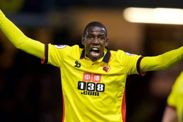 WATFORD, ENGLAND - Monday, May 1, 2017: Watford's Abdoulaye Doucoure during the FA Premier League match against Liverpool at Vicarage Road. (Pic by David Rawcliffe/Propaganda)