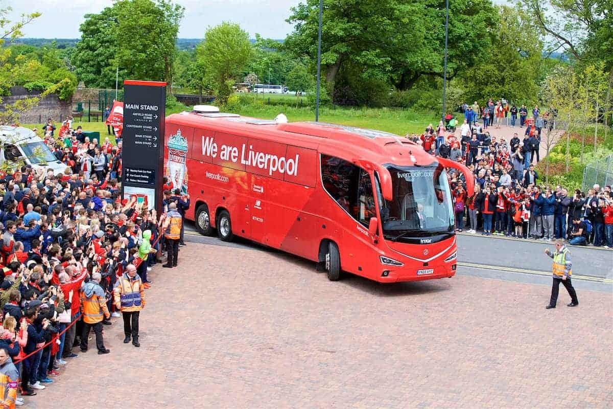 LIVERPOOL, ENGLAND - Sunday, May 21, 2017: The Liverpool team coach arrives at Anfield ahead of the FA Premier League match between Liverpool and Middlesbrough. (Pic by David Rawcliffe/Propaganda)