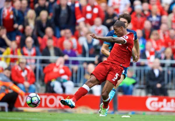 LIVERPOOL, ENGLAND - Sunday, May 21, 2017: Liverpool's Georginio Wijnaldum scores the first goal against Middlesbrough during the FA Premier League match at Anfield. (Pic by David Rawcliffe/Propaganda)