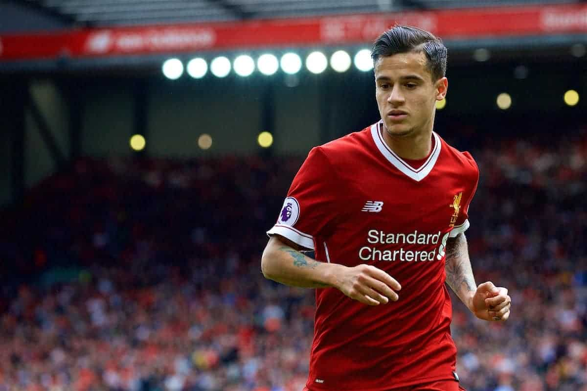 LIVERPOOL, ENGLAND - Sunday, May 21, 2017: Liverpool's Philippe Coutinho Correia in action against Middlesbrough during the FA Premier League match at Anfield. (Pic by David Rawcliffe/Propaganda)