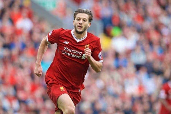 LIVERPOOL, ENGLAND - Sunday, May 21, 2017: Liverpool's Adam Lallana in action against Middlesbrough during the FA Premier League match at Anfield. (Pic by David Rawcliffe/Propaganda)