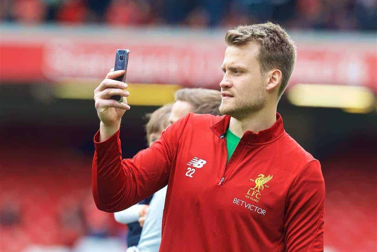 LIVERPOOL, ENGLAND - Sunday, May 21, 2017: Liverpool's goalkeeper Simon Mignolet takes a photo on his phone after the FA Premier League match against Middlesbrough at Anfield. (Pic by David Rawcliffe/Propaganda)