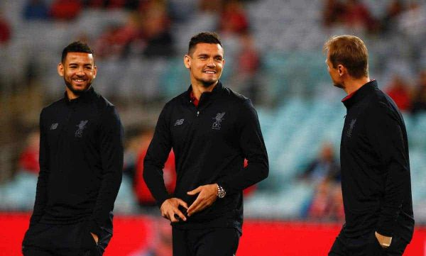 SYDNEY, AUSTRALIA - Wednesday, May 24, 2017: Liverpool's Kevin Stewart and Dejan Lovren before a post-season friendly match against Sydney FC at the ANZ Stadium. (Pic by Jason O'Brien/Propaganda)