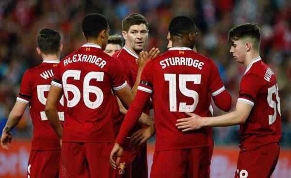 Liverpool's Steven Gerrard i with Trent Alexander-Arnold, Daniel Sturridge and Ben Woodburn during a post-season friendly match against Sydney FC at the ANZ Stadium. (Pic by Jason O'Brien/Propaganda)