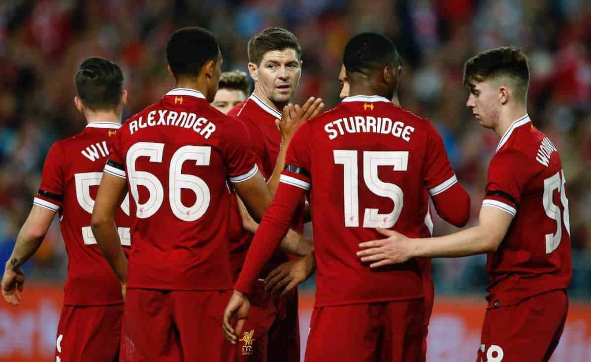 SYDNEY, AUSTRALIA - Wednesday, May 24, 2017: Liverpool's Steven Gerrard i with Trent Alexander-Arnold, Daniel Sturridge and Ben Woodburn during a post-season friendly match against Sydney FC at the ANZ Stadium. (Pic by Jason O'Brien/Propaganda)