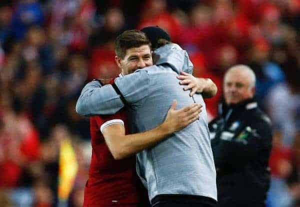 SYDNEY, AUSTRALIA - Wednesday, May 24, 2017: Liverpool's Steven Gerrard is hugged by manager Jürgen Klopp as he is substituted during a post-season friendly match against Sydney FC at the ANZ Stadium. (Pic by Jason O'Brien/Propaganda)
