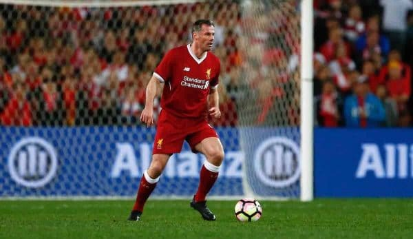 SYDNEY, AUSTRALIA - Wednesday, May 24, 2017: Liverpool's Jamie Carragher in action against Sydney FC during a post-season friendly match at the ANZ Stadium. (Pic by Jason O'Brien/Propaganda)