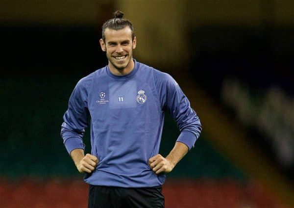 Real Madrid and Wales striker Gareth Bale during a training session ahead of the UEFA Champions League Final between Juventus FC and Real Madrid CF at the Stadium of Wales. (Pic by David Rawcliffe/Propaganda)