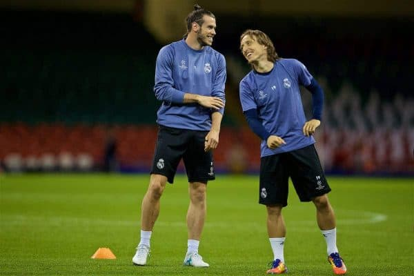 CARDIFF, WALES - Friday, June 2, 2017: Real Madrid's Gareth Bale and Luka Modri? during a training session ahead of the UEFA Champions League Final between Juventus FC and Real Madrid CF at the Stadium of Wales. (Pic by David Rawcliffe/Propaganda)