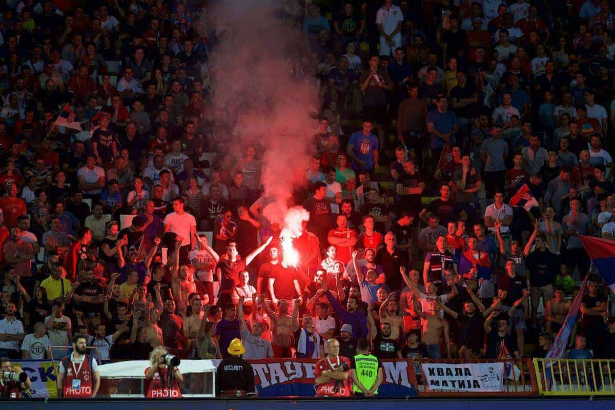 BELGRADE, SERBIA - Sunday, June 11, 2017: Serbia supporter set off a red flare during the 2018 FIFA World Cup Qualifying Group D match between Wales and Serbia at the Red Star Stadium. (Pic by David Rawcliffe/Propaganda)
