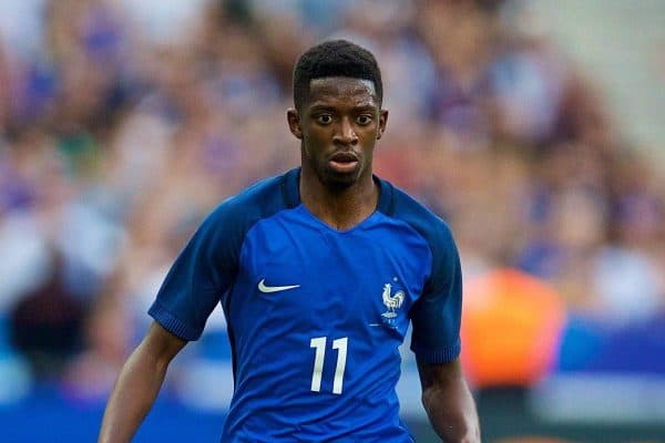 France's Ousmane DembÈlÈ in action against England during an international friendly match at the Stade de France. (Pic by David Rawcliffe/Propaganda)