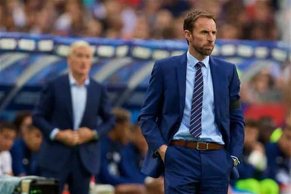 PARIS, FRANCE - Tuesday, June 13, 2017: England's manager Gareth Southgate during an international friendly match against France at the Stade de France. (Pic by David Rawcliffe/Propaganda)