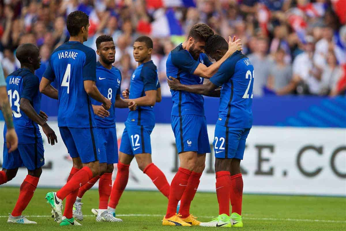 PARIS, FRANCE - Tuesday, June 13, 2017: France's Samuel Umtiti celebrates scoring the first goal against England with team-mate Olivier Giroud during an international friendly match at the Stade de France. (Pic by David Rawcliffe/Propaganda)