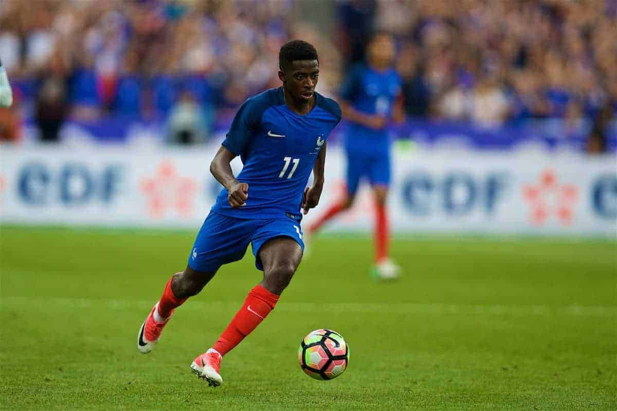 PARIS, FRANCE - Tuesday, June 13, 2017: France's Ousmane Dembélé in action against England during an international friendly match at the Stade de France. (Pic by David Rawcliffe/Propaganda)