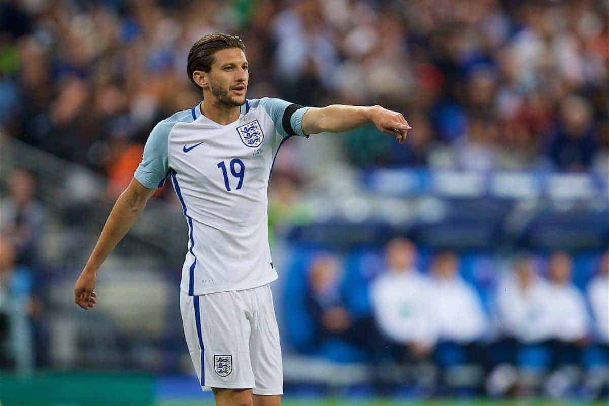 PARIS, FRANCE - Tuesday, June 13, 2017: England's Adam Lallana in action against France during an international friendly match at the Stade de France. (Pic by David Rawcliffe/Propaganda)