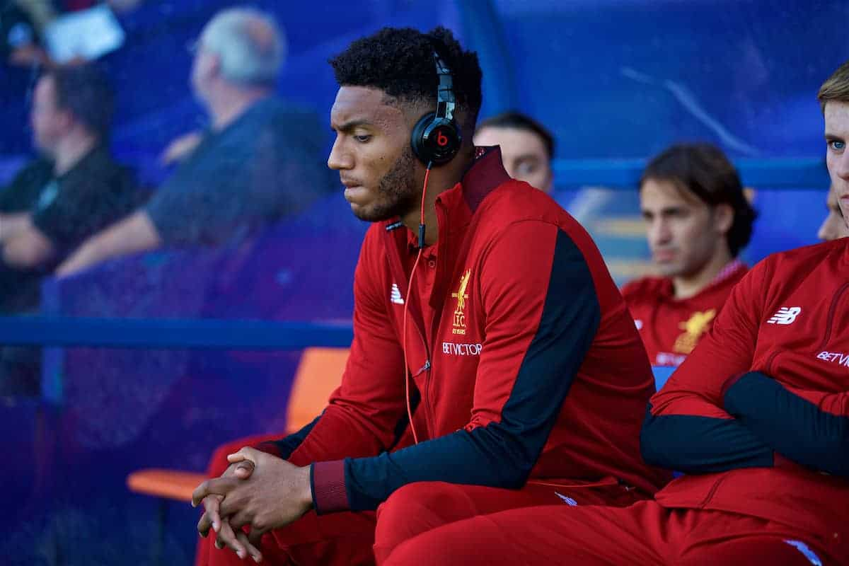 BIRKENHEAD, ENGLAND - Wednesday, July 12, 2017: Liverpool's Joe Gomez, wearing Beats headphones, before a preseason friendly match against Tranmere Rovers at Prenton Park. (Pic by David Rawcliffe/Propaganda)