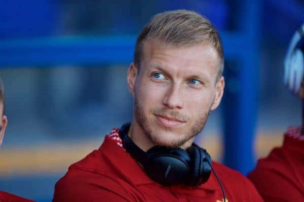 BIRKENHEAD, ENGLAND - Wednesday, July 12, 2017: Liverpool's Ragnar Klavan before a preseason friendly match against Tranmere Rovers at Prenton Park. (Pic by David Rawcliffe/Propaganda)