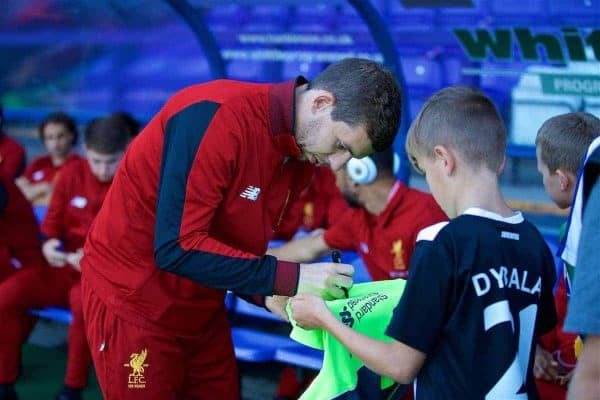 BIRKENHEAD, ENGLAND - Wednesday, July 12, 2017: Liverpool's Jon Flanagan signs an autograph for a supporter before a preseason friendly match against Tranmere Rovers at Prenton Park. (Pic by David Rawcliffe/Propaganda)