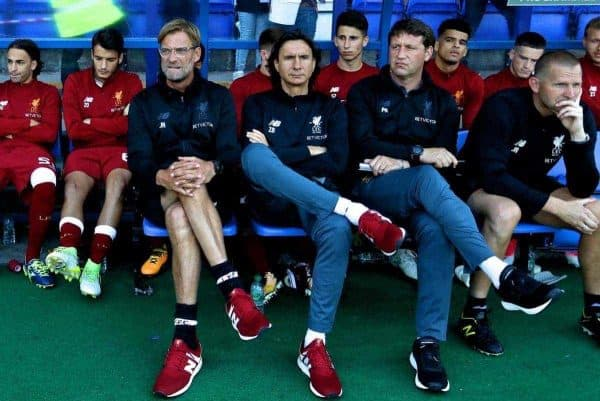 BIRKENHEAD, ENGLAND - Wednesday, July 12, 2017: Liverpool's manager J¸rgen Klopp with assistant manager Zeljko Buvac and first team coach Peter Krawietz before a preseason friendly match against Tranmere Rovers at Prenton Park. (Pic by David Rawcliffe/Propaganda)
