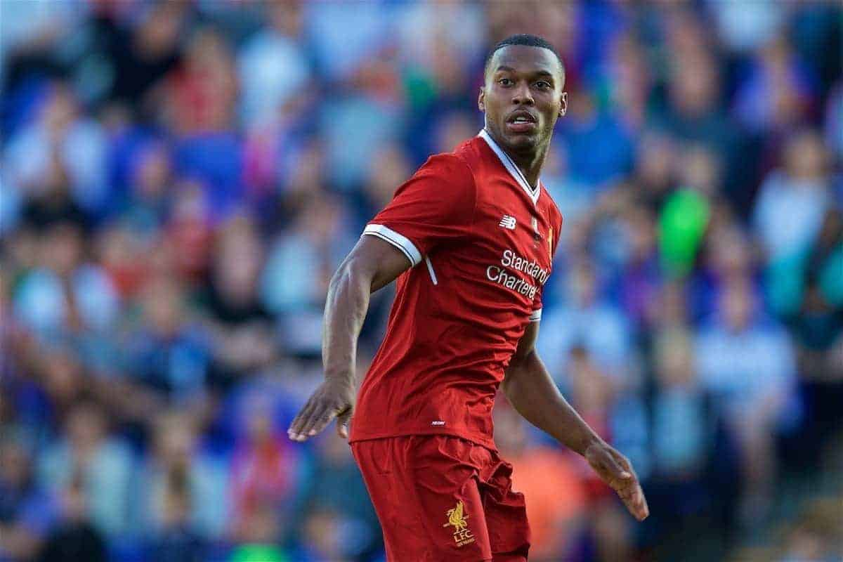 BIRKENHEAD, ENGLAND - Wednesday, July 12, 2017: Liverpool's Daniel Sturridge in action against Tranmere Rovers during a preseason friendly match at Prenton Park. (Pic by David Rawcliffe/Propaganda)