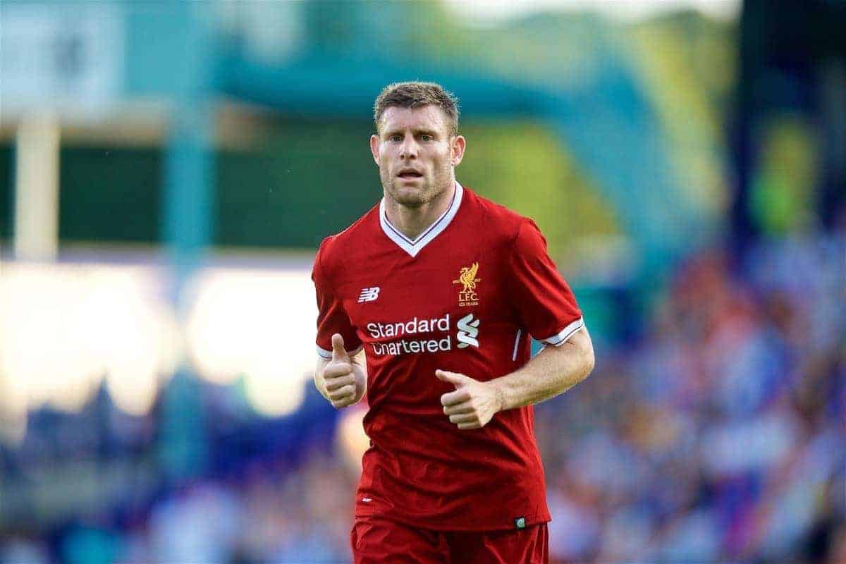 BIRKENHEAD, ENGLAND - Wednesday, July 12, 2017: Liverpool's James Milner in action against Tranmere Rovers during a preseason friendly match at Prenton Park. (Pic by David Rawcliffe/Propaganda)