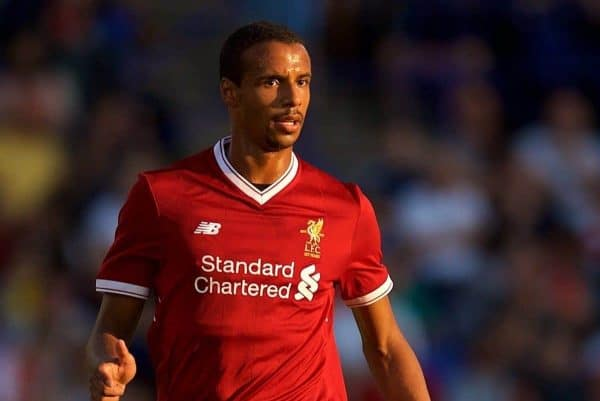 BIRKENHEAD, ENGLAND - Wednesday, July 12, 2017: Liverpool's Joel Matip in action against Tranmere Rovers during a preseason friendly match at Prenton Park. (Pic by David Rawcliffe/Propaganda)