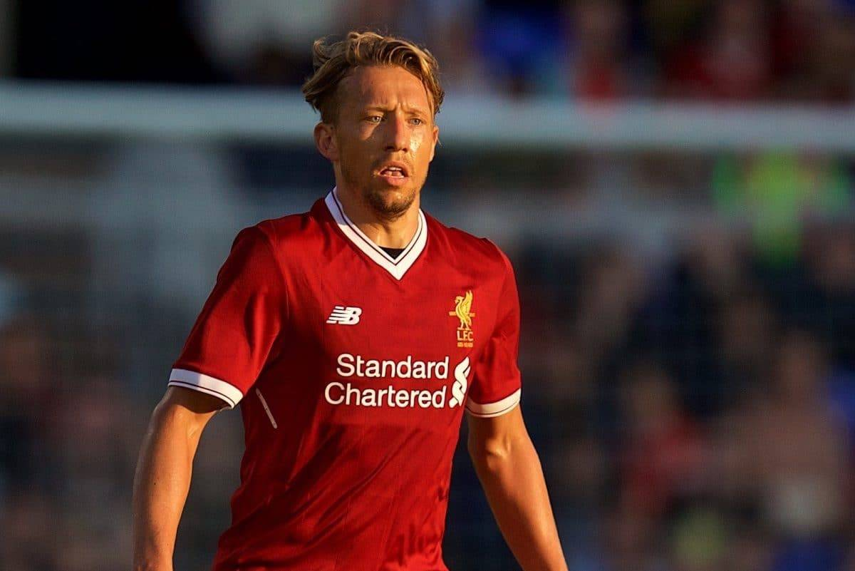 BIRKENHEAD, ENGLAND - Wednesday, July 12, 2017: Liverpool's Lucas Leiva in action against Tranmere Rovers during a preseason friendly match at Prenton Park. (Pic by David Rawcliffe/Propaganda)