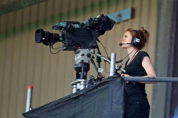 BIRKENHEAD, ENGLAND - Wednesday, July 12, 2017: A female television camera operator during a preseason friendly match at Prenton Park. (Pic by David Rawcliffe/Propaganda)