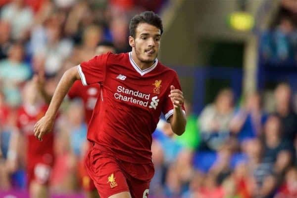 BIRKENHEAD, ENGLAND - Wednesday, July 12, 2017: Liverpool's Pedro Chirivella in action against Tranmere Rovers during a preseason friendly match at Prenton Park. (Pic by David Rawcliffe/Propaganda)