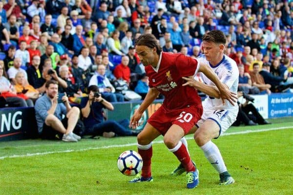 BIRKENHEAD, ENGLAND - Wednesday, July 12, 2017: Liverpool's Lazar Markovic in action against Tranmere Rovers during a preseason friendly match at Prenton Park. (Pic by David Rawcliffe/Propaganda)