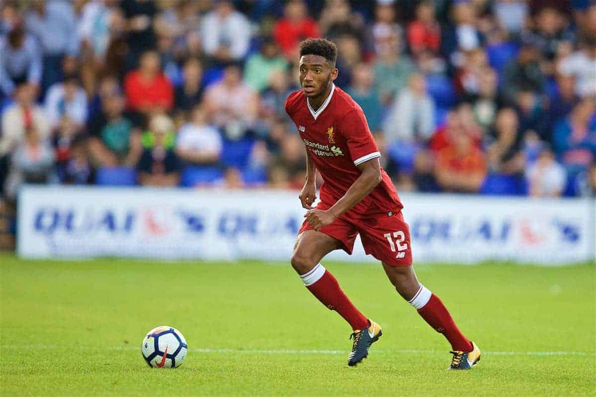 BIRKENHEAD, ENGLAND - Wednesday, July 12, 2017: Liverpool's Joe Gomez in action against Tranmere Rovers during a preseason friendly match at Prenton Park. (Pic by David Rawcliffe/Propaganda)