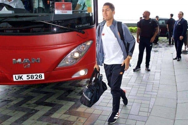 HONG KONG, CHINA - Monday, July 17, 2017: Liverpool's Roberto Firmino arrives at the Ritz-Carlton Hotel in Kowloon, Hong Kong, ahead of the Premier League Asia Trophy 2017. (Pic by David Rawcliffe/Propaganda)
