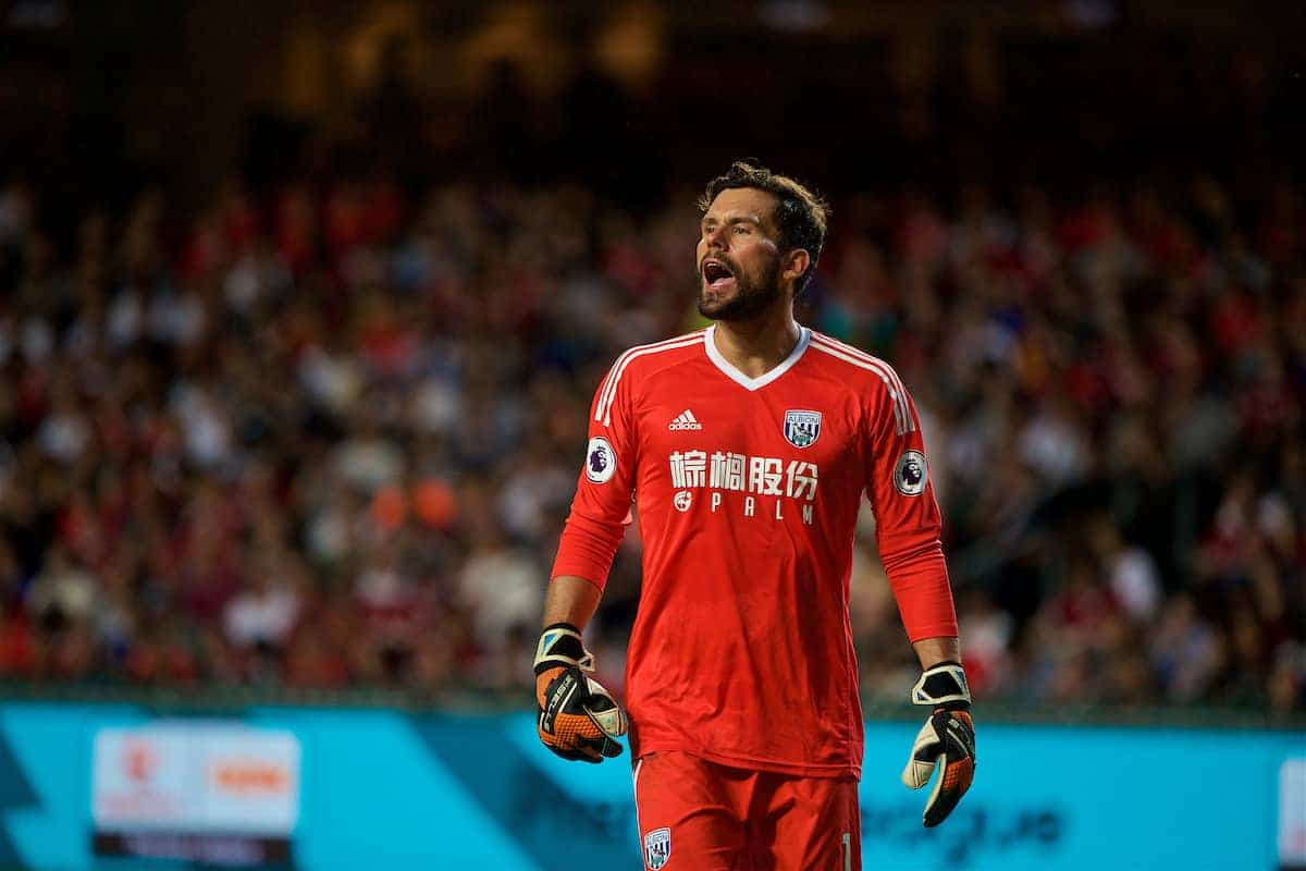 HONG KONG, CHINA - Saturday, July 22, 2017: West Bromwich Albion's goalkeeper Ben Foster during the Premier League Asia Trophy match between West Bromwich Albion and Crystal Palace at the Hong Kong International Stadium. (Pic by David Rawcliffe/Propaganda)
