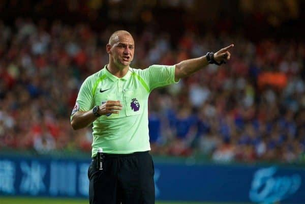 HONG KONG, CHINA - Saturday, July 22, 2017: Referee Bobby Madley during the Premier League Asia Trophy final match between Liverpool and Leicester City at the Hong Kong International Stadium. (Pic by David Rawcliffe/Propaganda)