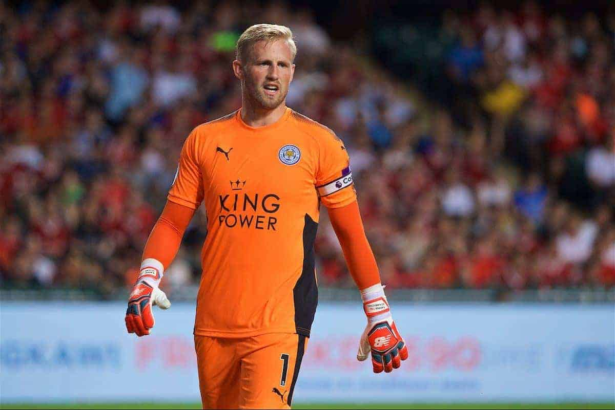 HONG KONG, CHINA - Saturday, July 22, 2017: Leicester City's goalkeeper Kasper Schmeichel during the Premier League Asia Trophy final match between Liverpool and Leicester City at the Hong Kong International Stadium. (Pic by David Rawcliffe/Propaganda)