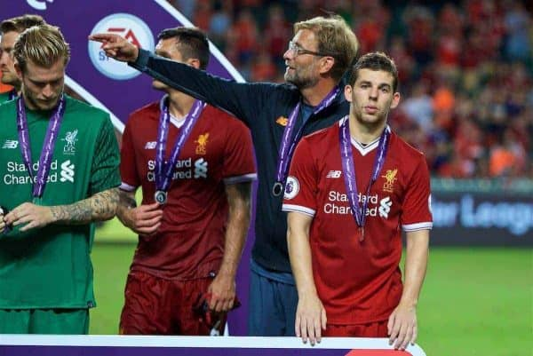 HONG KONG, CHINA - Saturday, July 22, 2017: Liverpool's Jon Flanagan and manager Jürgen Klopp during the Premier League Asia Trophy final match between Liverpool and Leicester City at the Hong Kong International Stadium. (Pic by David Rawcliffe/Propaganda)