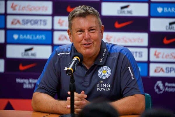 HONG KONG, CHINA - Saturday, July 22, 2017: Leicester City's manager Craig Shakespear during a post-match press conference after the Premier League Asia Trophy final match between Liverpool and Leicester City at the Hong Kong International Stadium. (Pic by David Rawcliffe/Propaganda)