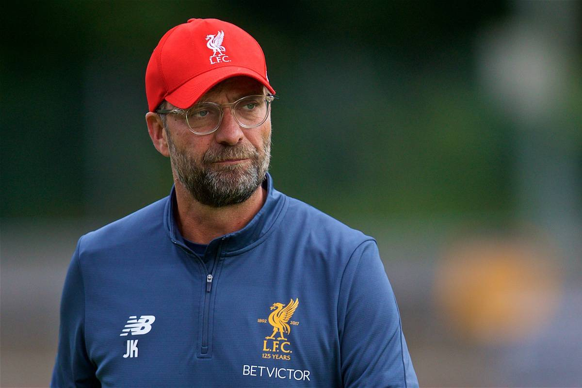 ROTTACH-EGERN, GERMANY - Friday, July 28, 2017: Liverpool's manager J¸rgen Klopp during a training session at FC Rottach-Egern on day three of the preseason training camp in Germany. (Pic by David Rawcliffe/Propaganda)