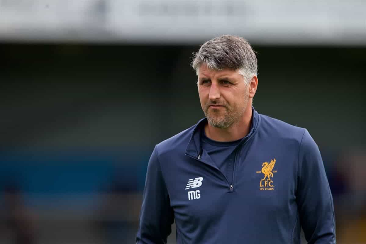 NUNEATON, ENGLAND - Saturday, July 29, 2017: Liverpool's Under 23's Coach Mike Garrity during a pre-season friendly between Liverpool and Coventry City at the Liberty Way Stadium. (Pic by Paul Greenwood/Propaganda)